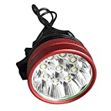 SODIAL 9 LED phare 2 en 1 lumiere de bicyclette de 12000 XM-L T6 LED de 15000 lumens lampe de phare de velo+ 9600mah rouge