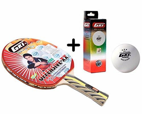 GKI Offensive XX Table Tennis Combo Set (GKI Offensive XX Table Tennis Racquet + GKI Premium 3 Star 40 Table Tennis Ball, Box of 3 - White)  available at amazon for Rs.1481
