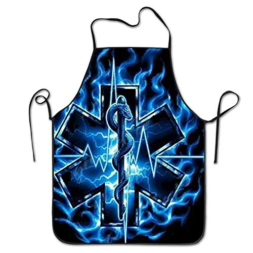 HTETRERW EMT Firefighter Black Towel Funny Apron for Baking Crafting Gardening Cooking Durable Easy Cleaning Creative Bib for Man and Woman Standar Size