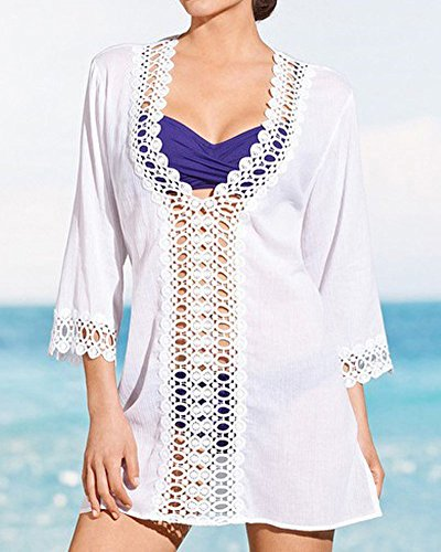 SaiDeng Femmes Sexy Robe De Plage Couverture Maillots De Bain Swimwear 1 Pièces Hollow Out Cover-Up Mini Robe Blanc