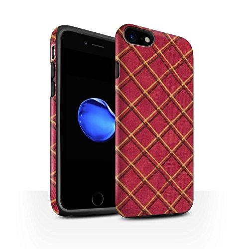 STUFF4 Matte Harten Stoßfest Hülle / Case für Apple iPhone 8 / Grün/Schwarz Muster / Kreuz Muster Kollektion Rot