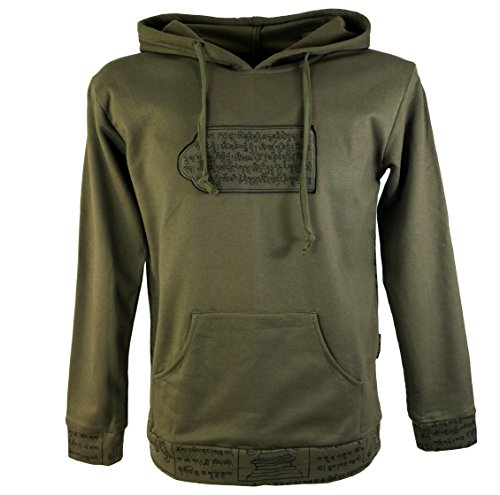 Guru-Shop Sweatshirt Hippie, Yoga Hoody Mantra, Herren, Baumwolle, Sweatshirts Alternative Bekleidung Olive