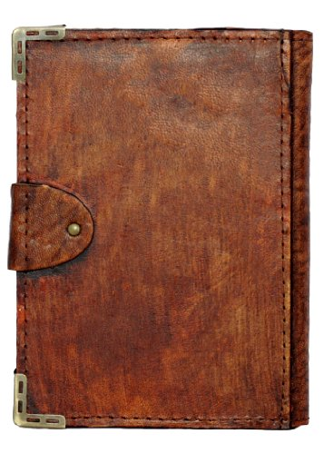 Indian Elephant Pendant Refillable Leather Journal / Diary / Lock / Brown Vintage Style / Notebook / Plain Paper Book Women Men Children Office Work