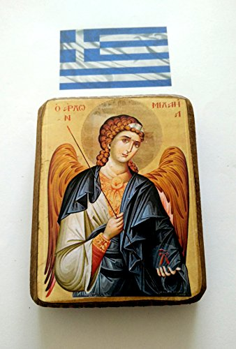 Wooden Greek Christian Orthodox Wood Icon of Archangel Michael / A0 by IconsGr