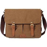 Kaukko British Style Retro Canvas Cotton Laptop Shoulder Bag (Khaki)