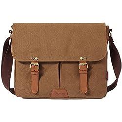 Kaukko British Style Retro Canvas Cotton Laptop Shoulder Bag - Khaki