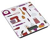 Digitale Slim Küchenwaage / Digitalwaage / Tischwaage, Motiv: Küchenutensilien