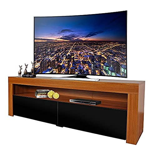 MODERN LIFE Walnut Wood Effect TV Unit TV Cabinet Stand 157cm Wide with Shelves Sliding Doors High Gloss
