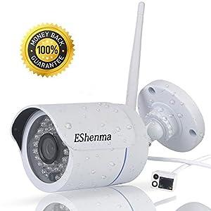 überwachungs Kamera Outdoor Außen Wasserdicht 720P HD Wlan IP Überwachungskamera, Unterstützt Email, FTP, SMS Benachrichtigung, IR Nachtsicht 15M, Bis zu 128GB,Kamera mit WLAN Wireless IP Kamera HD für Außenbereich IP66 mit deutscher App/Anleitung/Support