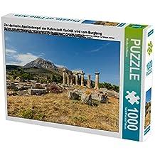 Der dorische Apollontempel der Hafenstadt Korinth wird vom Burgberg Akrokorinth überragt, Korinthia, Peloponnes, Griechenland 1000 Teile Puzzle quer (CALVENDO Orte)
