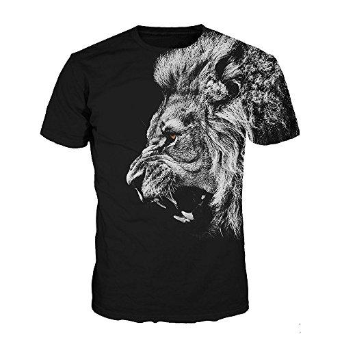 Imagen de luckygirls camisetas hombre color de hechizo estampado de fumar originales manga cortos verano moda músculo polos personalidad casual remera slim camisas de deporte xl,león  alternativa