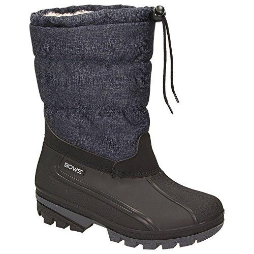 BOWS® -LIV- Damen Mädchen Jungen Winter Stiefel Schnee Schuhe Snow Boots Schlupfstiefel Warmfutter wasserdicht, Schuhgröße:39, Farbe:jeansblau