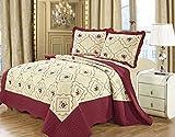 Bettsteppdecke mit floralem Muster bestickt, aus Poly-Baumwollen, 3-teilig, Tagesdecke und 2...