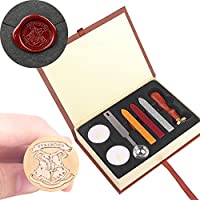 OurLeeme Harry Potter Stamp Kit Hogwarts Wax Sticks for Seal Stamps Vintage Alphabet Classic Retro Badge Wax Seal Stamp Kit Wax Stick Spoon Box Set