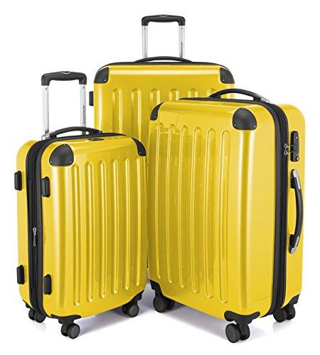 HAUPTSTADTKOFFER - Alex - Set di 3 valigie, TSA, Nero brillante, (S, M & L), 235 litri, Colore  Giallo