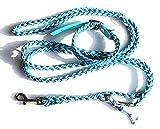 Viva Nature Handgemachtes Hunde-Halsband MIT Leine im Set/verstellbar\ Paracord-PP-Flechtleine (30-35cm, blau türkis)
