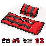 Poids pour les chevilles ProMic 0,5kg 1kg 1,5kg 2kg sangle réglable exercice de résistance à la formation de poids poignet pour les femmes et hommes, lot de 2, couleur rouge, noir, gris, 2 x 1.5 KG-Red Black