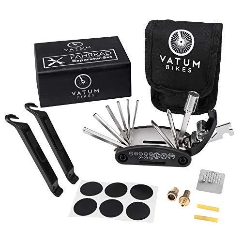 Fahrradwerkzeug - Praktisches Fahrrad Werkzeug- und Reparatur Set - Flickzeug mit 16-in-1 Multitool, Ventiladapter & Aufbewahrungstasche - Fahrradflickzeug - Reparaturset - Reifenflickzeug