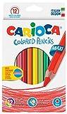 Carioca 41406 - Jumbo Confezione Triangolare 12 Matite Colorate, Maxi Mina, 0.5 mm