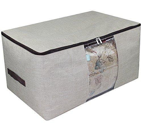 Iwill createpro borsa di immagazzinaggio spessa due lati per la comforter, finestra chiara di vista e manici forti, vestito dell'armadio/trapunta/cuscini organizzazione borsa di stoccaggio, beige