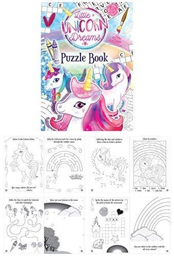 12Mini-Puzzle-Bücher mit Einhörnern, lustiges Aktivitäts-Farb-Buch für Kinder