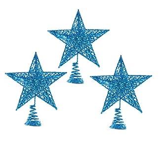 LIOOBO-3-Stcke-Glitzer-Weihnachtsbaumspitze-Metall-Christbaumspitze-Baumspitze-Baumschmuck-Spitze-Weihnachtsbaum-Stern-Weihnachtsstern-Tischdeko-fr-Weihnachten-Deko