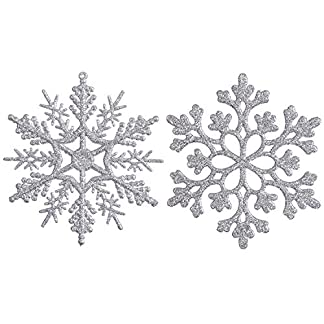 Sea Team Plastic Christmas Glitter Snowflake Ornaments Christmas Tree Decorations, 4-Inch, Set of 36