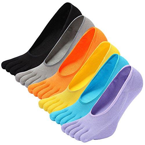CaiDieNu Damen Kurze Bunte Sneaker-Zehensocken für Sport und Freizeit,geeignet für Zehenschuhe,Hochwertiger gekämmter Baumwollstoff und rückenfreies Design