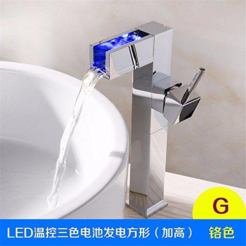 ETERNAL QUALITY Badezimmer Waschbecken Wasserhahn Messing Hahn Waschraum Mischer Mischbatterie Tippen Sie auf Licht emittierende Waschbecken kaltes Wasser bis zur Ecke W