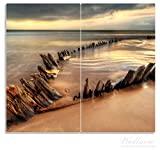Wallario Herdabdeckplatte / Spritzschutz aus Glas, 2-teilig, 60x52cm, für Ceran- und Induktionsherde, Bootswrack in Irland am Strand
