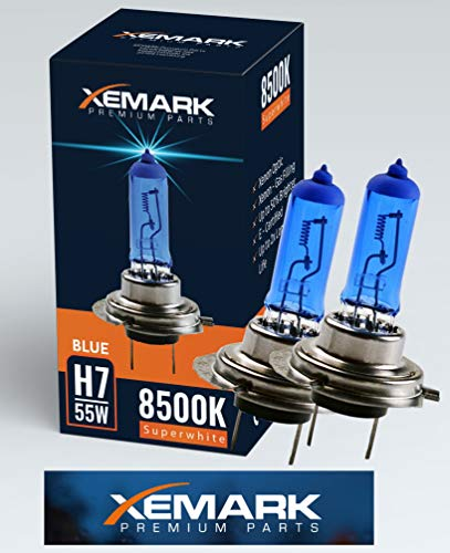 XEMARK H7 Xenon Optik Lampe, 55W 12V Super White Blue Halogen Birne, 2 Stück