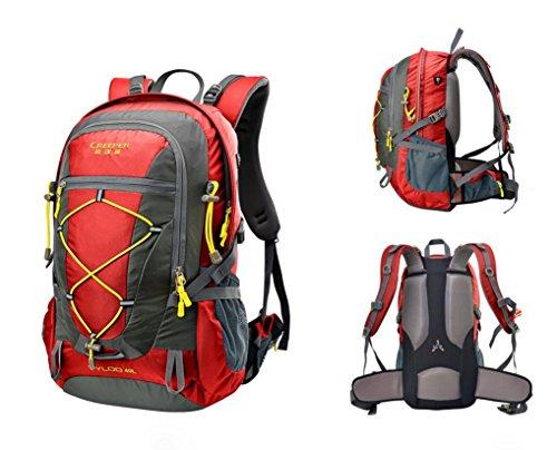 Wandern Outdoor Rucksack ultra leichten 40L Reiten tragen Schulter-Travel Tour Tasche Regenhülle wine red 40 liters