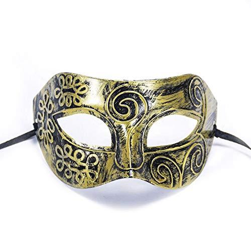 LBAFS Halloween Bronze Maske Römischen Männer Half Face Flachkopf Geschnitzt Venezianische Maske Golden Für Ball Party Performance