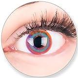 Pinke Kontaktlinsen OHNE Stärke - für Braune Dunkelbraune und Schwarze Dunkle oder Helle Augen - mit Kontaktlinsenbehälter. Zwei Farbige Mehrfarbige Pink Blau Paradis 3 Monatslinsen
