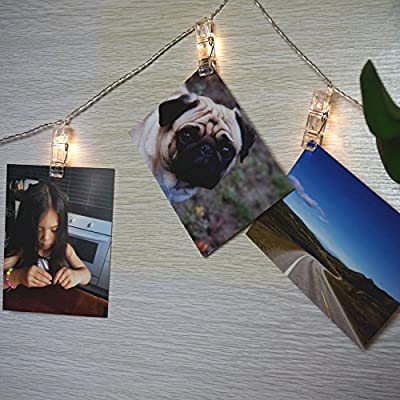 TokoDirect LED Photo Clip Fairy Lights,20 Photo Clips, 3.3 Meter/10.83 Feet, Warm White, Battery Powered String Lights, Perfect for Hanging Pictures, Notes, Artwork,Culture Wall.