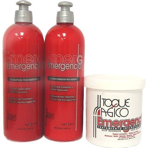 Toque Magico Emergencia set - Masque Capillaire Soin Profond Intensif à la Kératine 453ml, Shampooing pour Cheveux Abimés 453ml, Après-Shampooing Traitant pour Cheveux Abimés 435ML