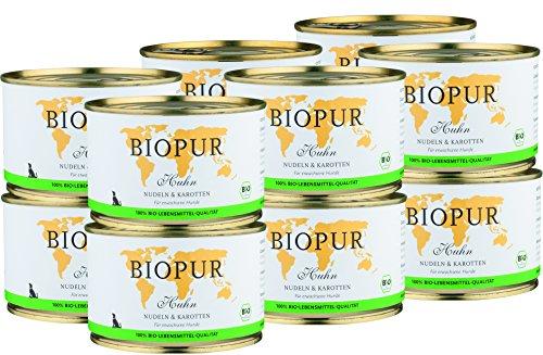 BIOPUR Bio Huhn, Nudeln & Karotten für Hunde 12x400g -