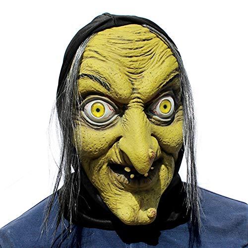 Alte Kostüm Meme - HHSJL Alte Frau Hexe Maske mit Haar und Kopftuch Latex Halloween/Kostümpartys/Mardi Gras Kostüm Requisiten Maske,A