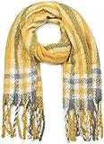 styleBREAKER Châle épais avec un motif à carreaux et à rayures et des franges, écharpe d'hiver, étole, foulard, unisexe 01017099, couleur:Curry-gris-blanc...