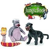 Set 3 Peluches El libro de la selva 25 cm - Oso Baloo, Serpiente Káa
