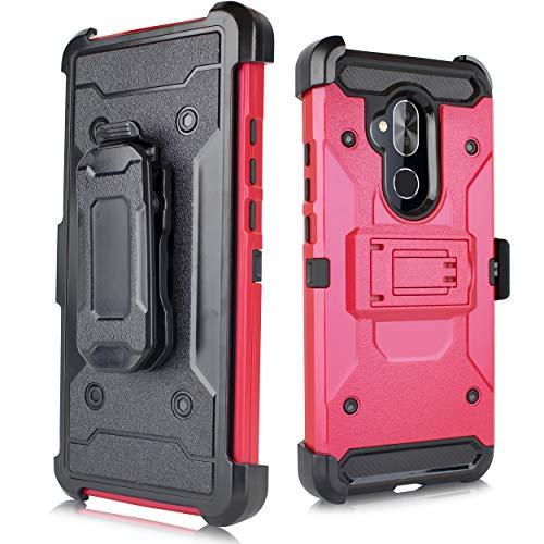 Schutzhülle für Alcatel 7 / Revvl 2 Plus / ACTL6062 [2018 Version für Metro PCs usw.] Duo Defense Heavy Duty Full Body Rugged Armor Combo Case [Gürtel-Clip und Kickstand], rot