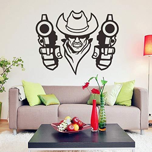 Western cowboy vinilo creativo tatuajes de pared decoración para el hogar sala de estar diy arte mural extraíble pared stic 57 * 45 cm