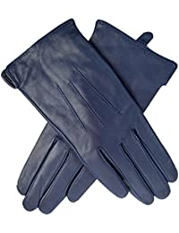 Jasmine Silk Ladies Luxury Genuine Lambskin Leather Cashmere Lined Gloves NAVY