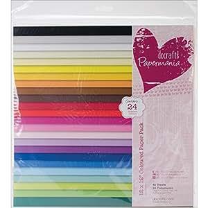 Papermania - Fogli colorati, confezione da 48, dimensioni: 30 x 30 cm