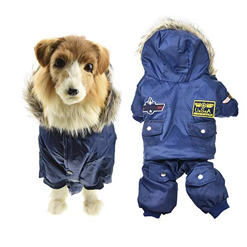 MUYAOPET Muyaotet Air Force Kostüm für große Hunde, Winterjacke, wasserdicht, warm, Kaltes Wetter, Schneeanzug mit Kapuze, Labrador, Golden Retriever Kleidung mit Pelzkragen, 3XL, blau