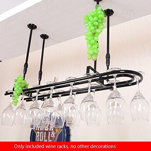 Ali@ Porte-bouteilles de ménage/Porte-gobelet à l'envers/Porte-manteau de plafond/Salon cuisine Bar Restaurant étagère-80 * 25cm (Couleur : NOIR, taille : 80 * 25cm)