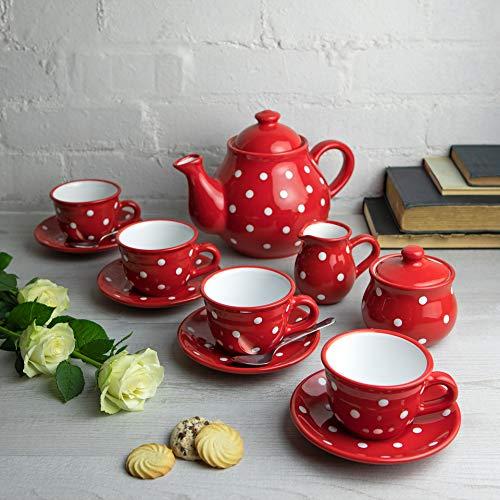 City to Cottage | Service à thé pour Quatre | Rouge à Pois Blancs en céramique Fait et Peint à la Main | Grande théière 1,7L 4-6 Tasses, Pot à Lait, sucrier, Quatre Tasses et sous Tasses