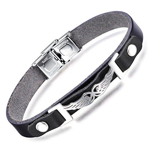 Feilok Elegant Engel Flügel Angel Wing Unisex Armbänder Armband Edelstahl Leder Armkette Armreif, Farbe: Silber