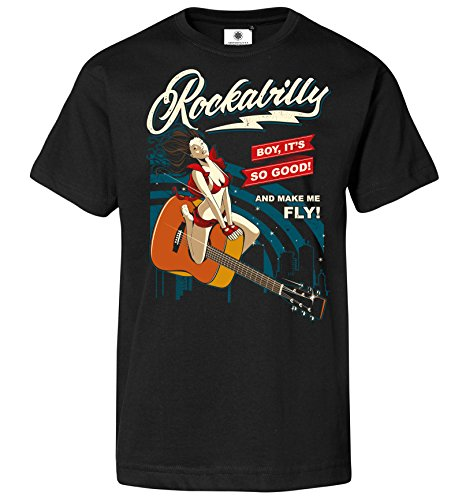 Customized by S.O.S Bedrucktes Herren Vintage T-Shirt Rockabilly Pinup (2XL, - Roll Elvis Kostüm