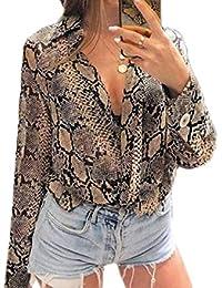 Fräulein Fox Printemps Automne Chemises Femmes Revers Tops à Manches Longues  Blouse Mode Peau de Serpent b5dc412340c4
